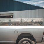 Highside Toolbox on a Dodge Ram 2500. Diamond Plate Aluminum Side Toolbox.