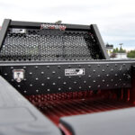 Low Profile Truck Tool Box with Gladiator Finish and Full Mesh Honeycomb Headache Rack