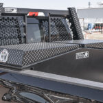 Honeycomb Headache Rack Open Mesh Leopard Finish with Gullwing Toolbox on Ford Super Duty