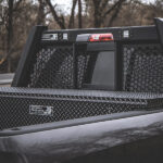 Guardian Open Mesh Headache Rack with LED lights on a Dodge Ram with a Low Profile Toolbox