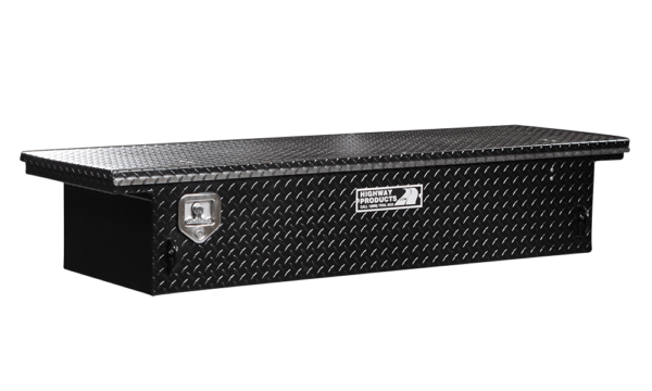 Low Profile Truck Tool Box Black Diamond Plate Lid and Base left closed