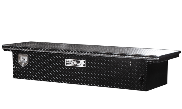 Low Profile Truck Tool Box Black Diamond Plate Lid and Base right closed