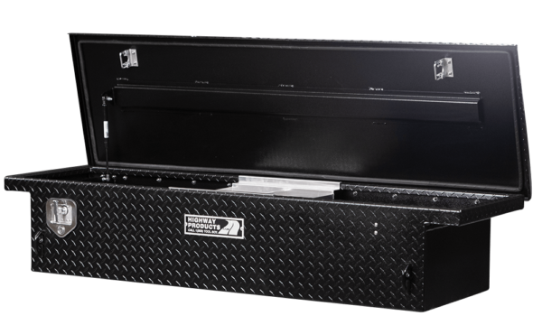 Low Profile Truck Tool Box Black Diamond Plate Lid and Base right open