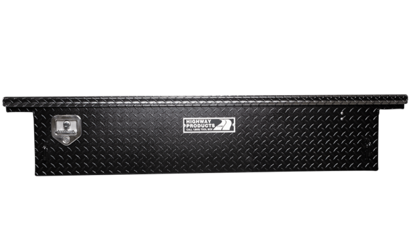 Low Profile Truck Tool Box Black Diamond Plate Lid and Base straight closed