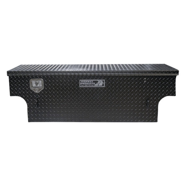 5th Wheel Black Diamond Plate Lid and Base Notched straight closed