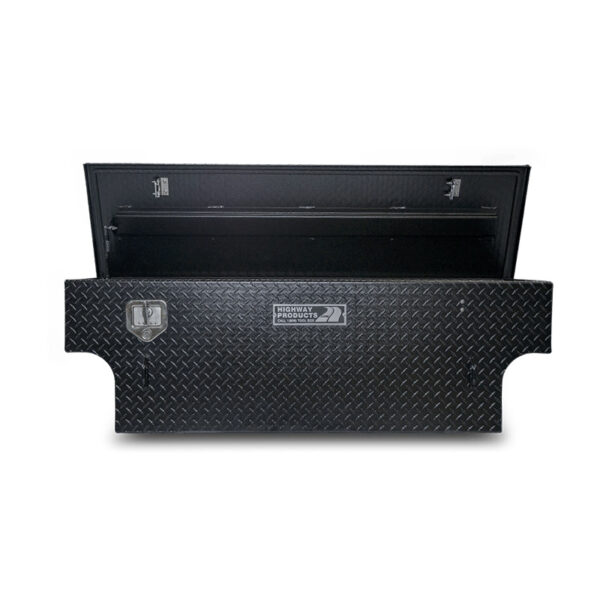 5th Wheel Black Diamond Plate Lid and Base Notched straight open