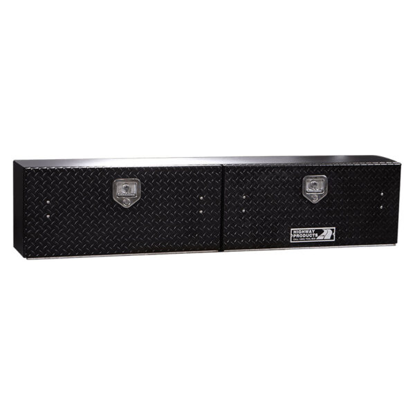 Black Diamond Plate Doors with Smooth Aluminum Base left closed