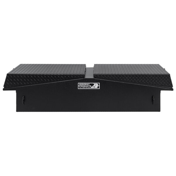 Black Diamond Plate Lid with SMooth Aluminum Base Straight Closed