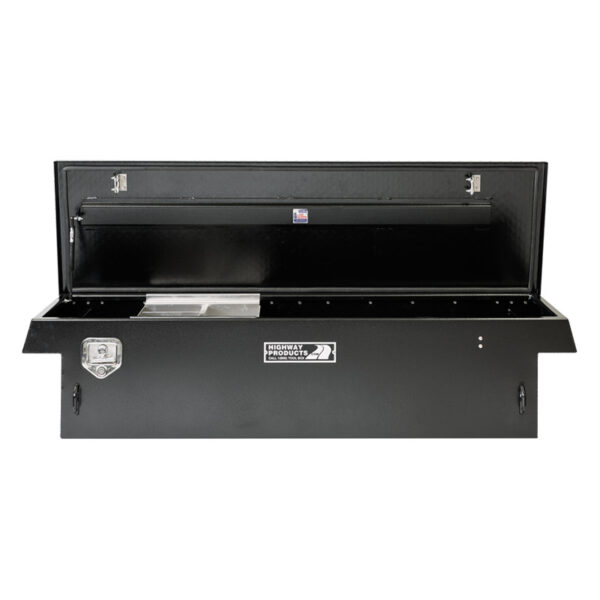 Black Diamond Plate Lid with Smooth Black Aluminum Base straight open