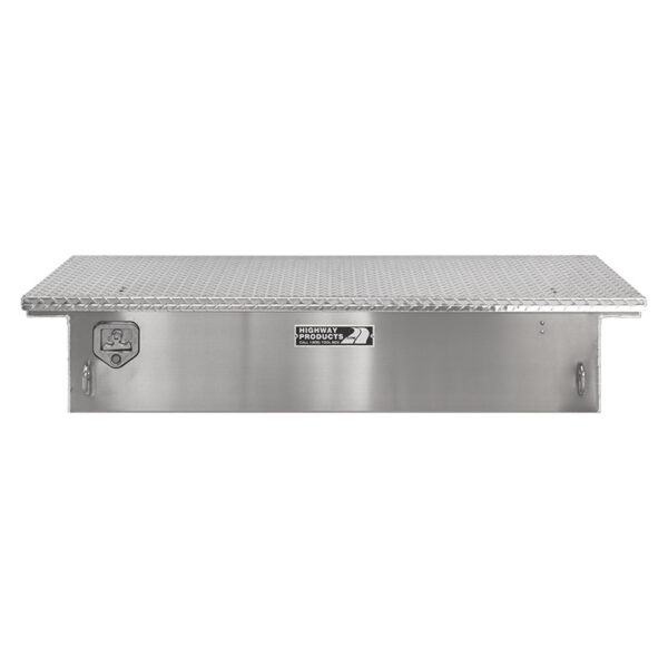 Diamond Plate Toolbox Lid and Smooth Aluminum Base Straight Closed