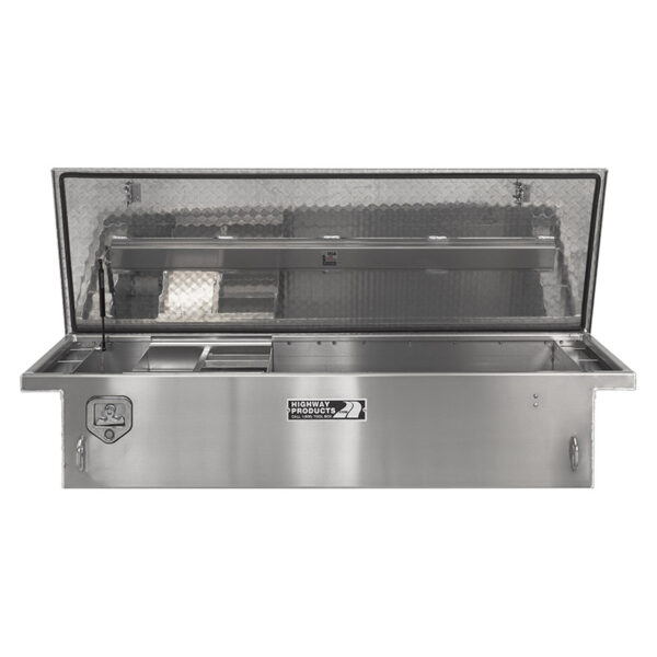 Diamond Plate Toolbox Lid and Smooth Aluminum Base Straight Open