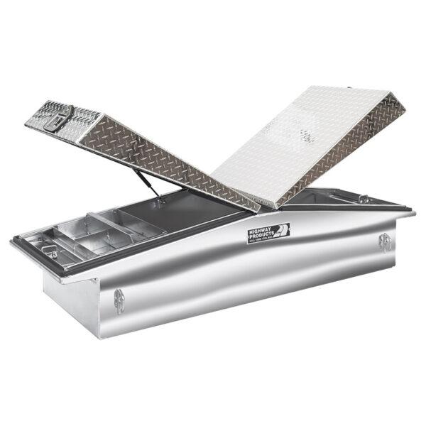 Diamond Plate Lid with Polished Aluminum Base Left Open
