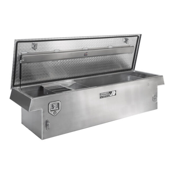 Diamond Plate Lid with Smooth Aluminum Base Left Open