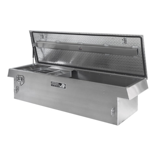 Diamond Plate Lid with Smooth Aluminum Base Right Open