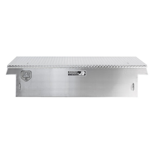 Diamond Plate Lid with Smooth Aluminum Base Straight Closed