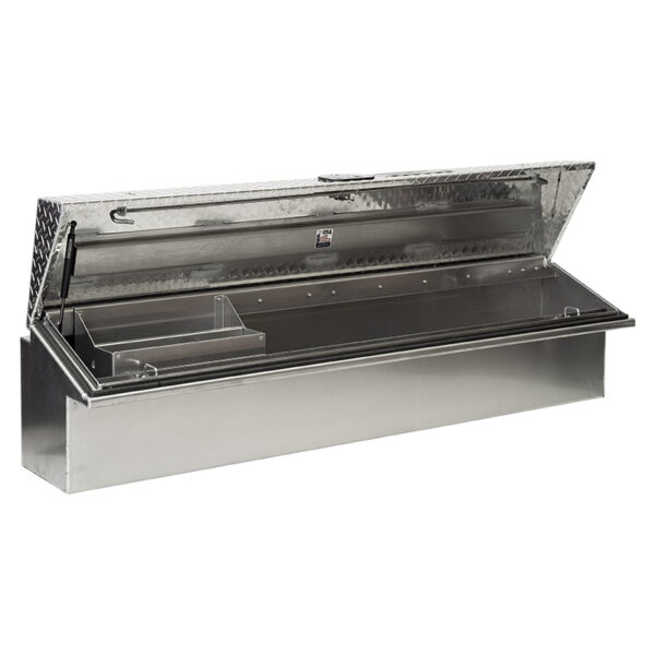 Diamond Plate Lid with Smooth Aluminum Base eft open