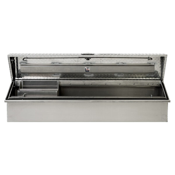 Diamond Plate Lid with Smooth Aluminum Base straight open 1