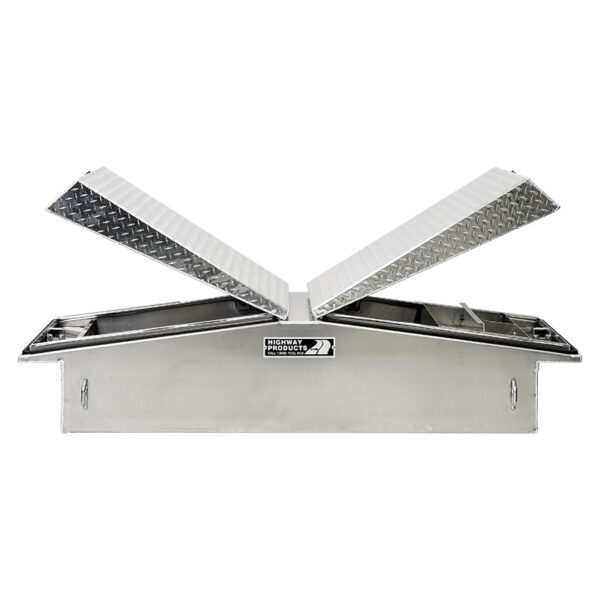 Diamond Plate Lid with Smooth Aluminum Base straight open