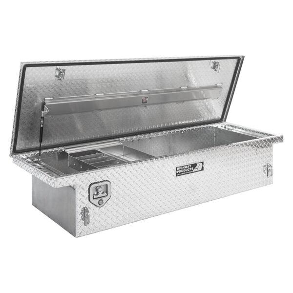 Single Lid Toolbox Diamond Plate Lid and Base Left Open