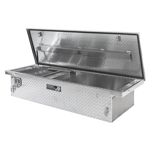 Single Lid Toolbox Diamond Plate Lid and Base Right Open