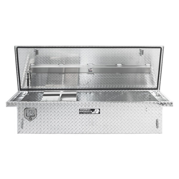 Single Lid Toolbox Diamond Plate Lid and Base Straight Open